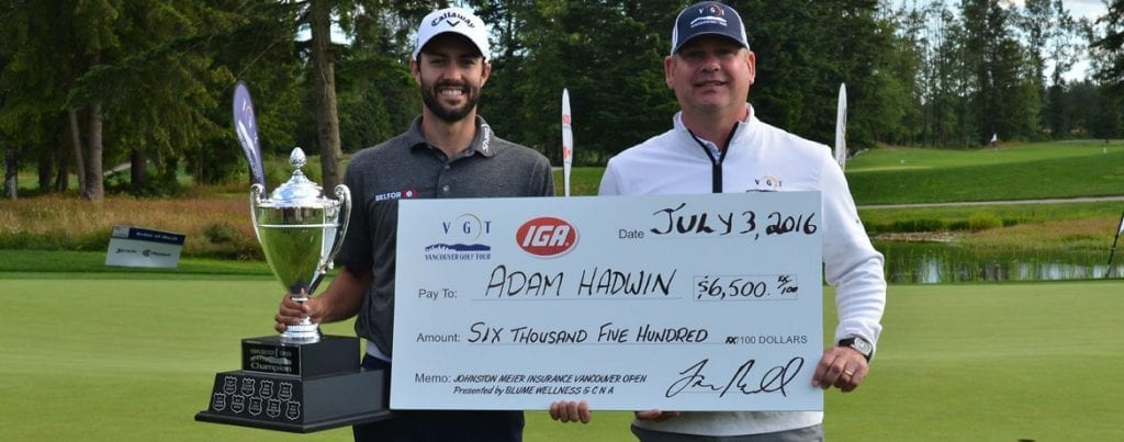 Adam Hadwin is a 3-time Vancouver Open Winner! (pictured with Dave Ebner of Johnston Meier Insurance)